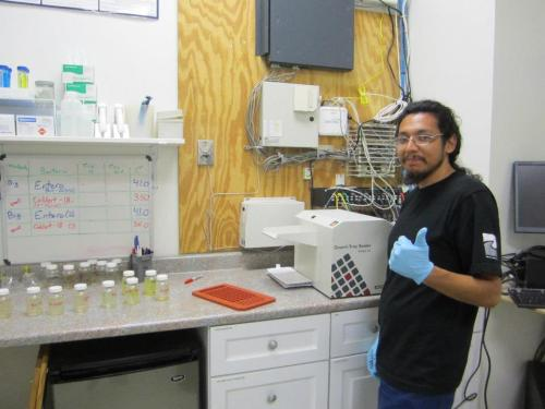 DrainWatch volunteer, Oscar, in the water quality lab running some FIB samples.